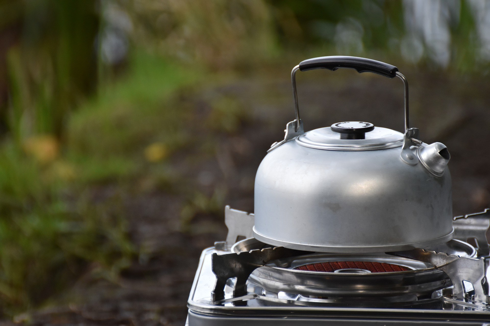 Kettle on a camping stove